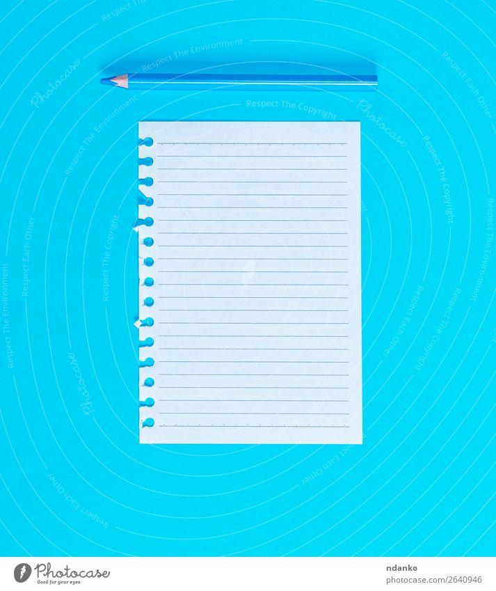 blau weiß Holz Business Schule Büro lernen Idee Papier schreiben Schriftstück Schreibstift Zettel Spirale Bleistift Mitteilung