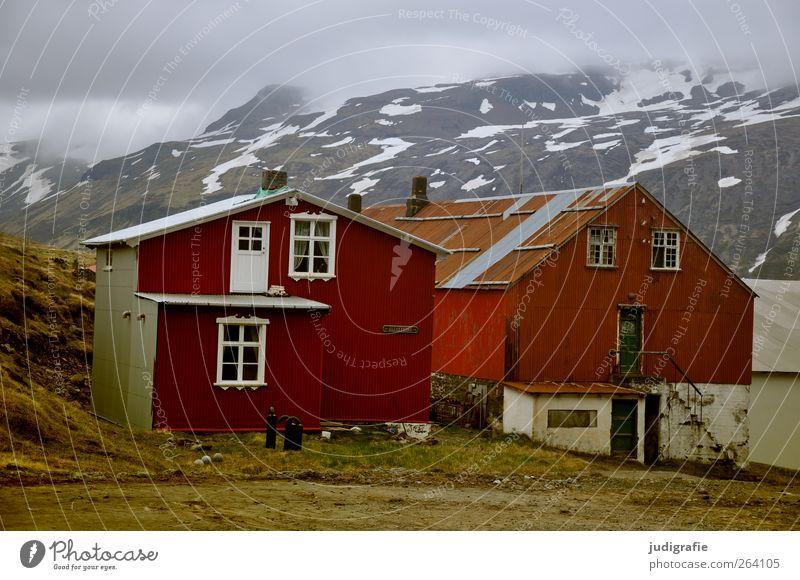 NORDREISENDER Alles Gute Umwelt Natur Hügel Berge u. Gebirge Schneebedeckte Gipfel Fjord Island Djupavik Westfjord Dorf Haus Hütte Bauwerk Gebäude Fenster Tür