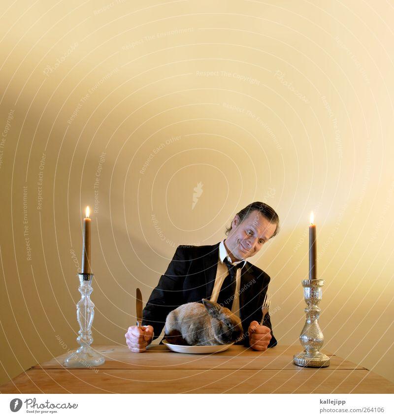 ostern fällt leider aus Wohnung Tisch Restaurant Essen Ostern Mensch maskulin Mann Erwachsene Kopf 1 30-45 Jahre Tier Haustier Fell Feste & Feiern