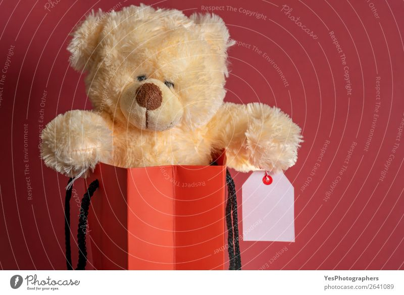 Gefülltes Spielzeug in einer Einkaufspapiertüte. Roter Hintergrund kaufen Feste & Feiern Weihnachten & Advent Business Teddybär Paket Liebe verkaufen