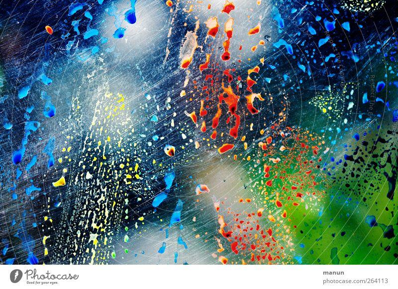 Bunter Gruß für Nordreisender blau rot Farbe Linie Fröhlichkeit Streifen Coolness Tropfen Kreativität Ornament