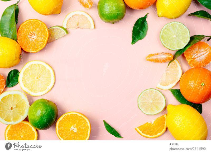 Zitrusfrüchte Rahmen auf rosa Hintergrund Frucht Ernährung Getränk Limonade Saft Sommer Blatt frisch oben gelb grün Zitrone Kalk orange Mandarine trinken