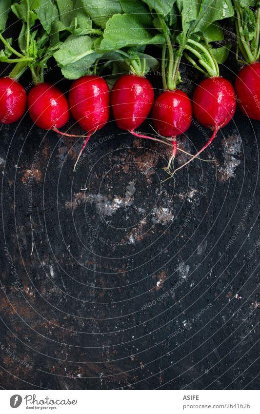 Nasse Radieschen auf einem Grunge-Hintergrund Gemüse Ernährung Vegetarische Ernährung Diät Pflanze Blatt Tropfen dunkel frisch klein nass natürlich grün rot