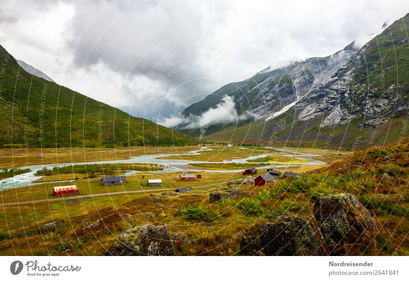 Norwegische Landschaft Ferien & Urlaub & Reisen Tourismus Berge u. Gebirge wandern Landwirtschaft Forstwirtschaft Luft Wasser Wolken schlechtes Wetter Nebel