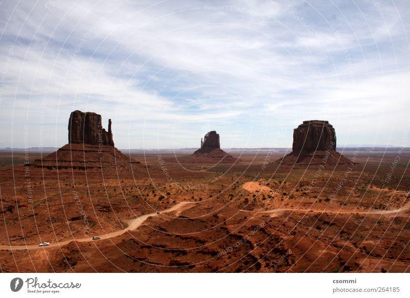 Monument Valley Ferien & Urlaub & Reisen Tourismus Abenteuer Ferne Sightseeing Sand Wüste USA Menschenleer Sehenswürdigkeit Unendlichkeit historisch trocken