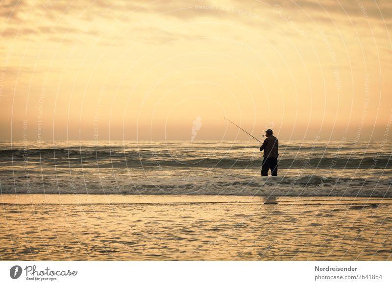 Angler in der Brandung Freizeit & Hobby Angeln Ferien & Urlaub & Reisen Ferne Freiheit Camping Sommer Sommerurlaub Strand Meer Mensch maskulin Mann Erwachsene