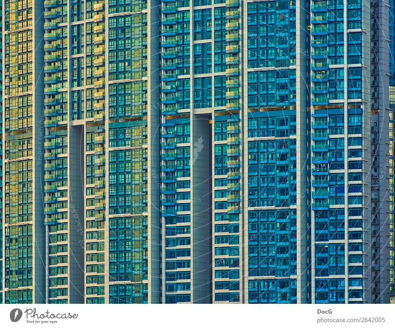Hong Kong - Tower Blocks - Kowloon blau Ferne Architektur Leben gelb Gebäude Fassade oben Häusliches Leben Design Metall modern Hochhaus Wachstum Glas Zukunft