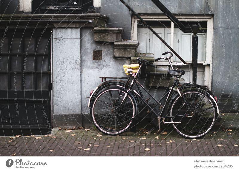 reverse Haus Treppe Bürgersteig Farbfoto Außenaufnahme Menschenleer Fahrrad Abstellplatz 1 schwarz Wand
