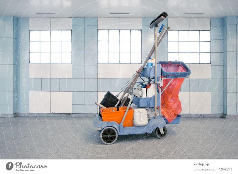 frühjahrsputz blau orange Arbeit & Erwerbstätigkeit Ordnung Reinigen Sauberkeit Müll Beruf Fliesen u. Kacheln Tüte Arbeitsplatz Besen Eimer hell-blau