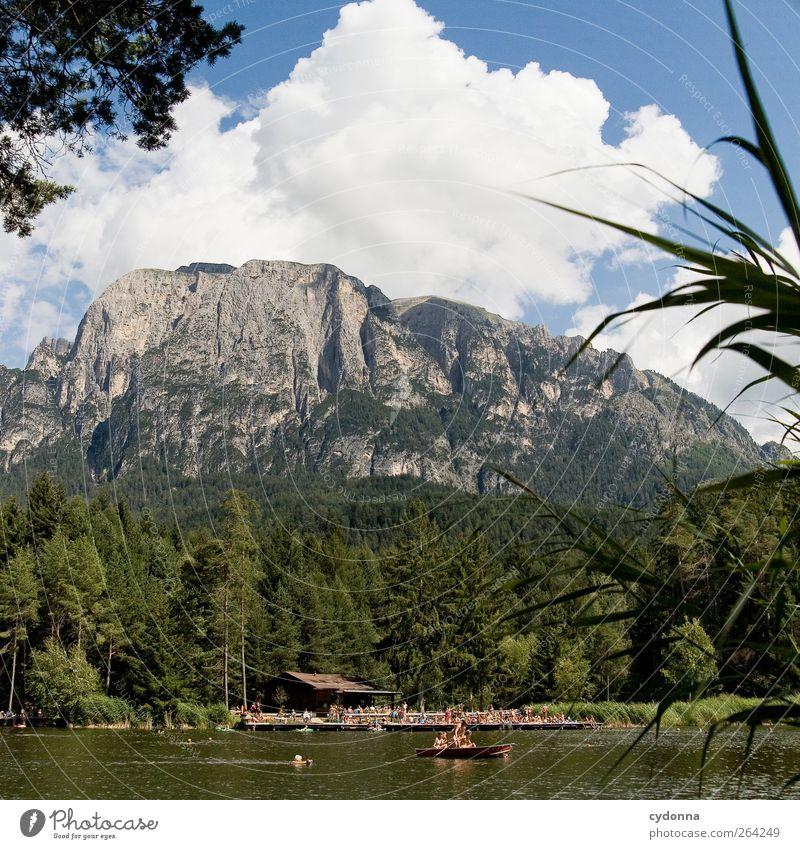 Waldsee Mensch Himmel Natur Ferien & Urlaub & Reisen Erholung Umwelt Landschaft Leben Berge u. Gebirge Freiheit Menschengruppe See träumen Freizeit & Hobby