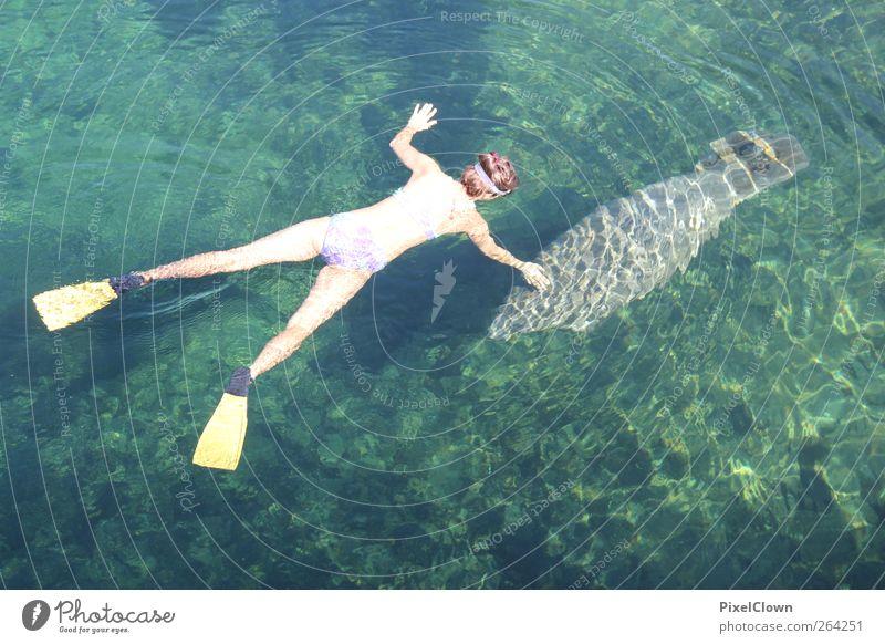 Nasse Begegnung Mensch Natur blau Wasser grün Sommer Tier Küste Glück Wellen Schwimmen & Baden Wildtier Abenteuer tauchen Flussufer Sommerurlaub