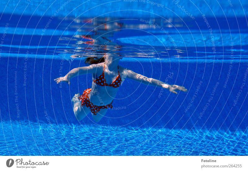 Und Luft holen!!! Mensch feminin Kind Mädchen Kindheit Körper Haut Brust Arme Hand Finger Bauch Beine Urelemente Wasser nass blau Schwimmbad Schwimmsport Nixe