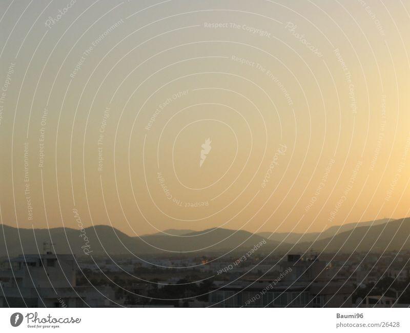 Ibiza@Morning Sonne Stadt dunkel Berge u. Gebirge Landschaft hell Europa