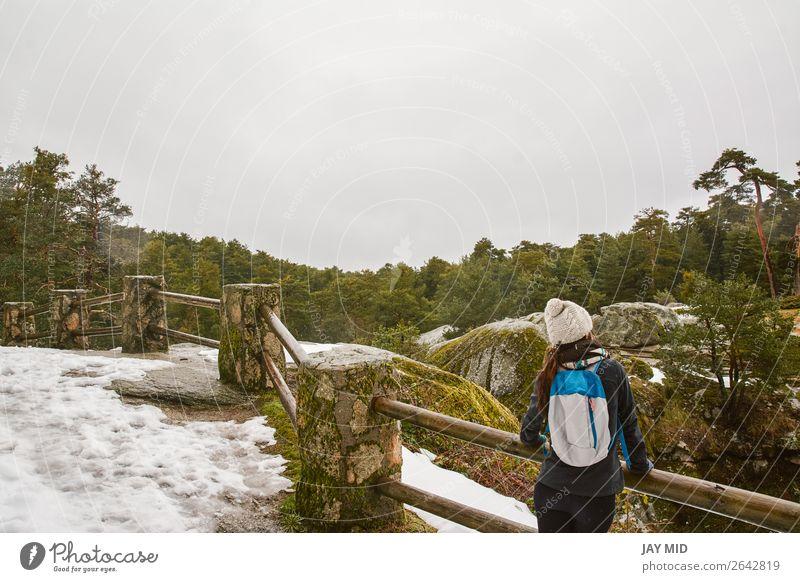 Wandern, Wanderin, die die Landschaft im verschneiten Wald genießt. Lifestyle schön Ferien & Urlaub & Reisen Ausflug Abenteuer Freiheit Winter Schnee