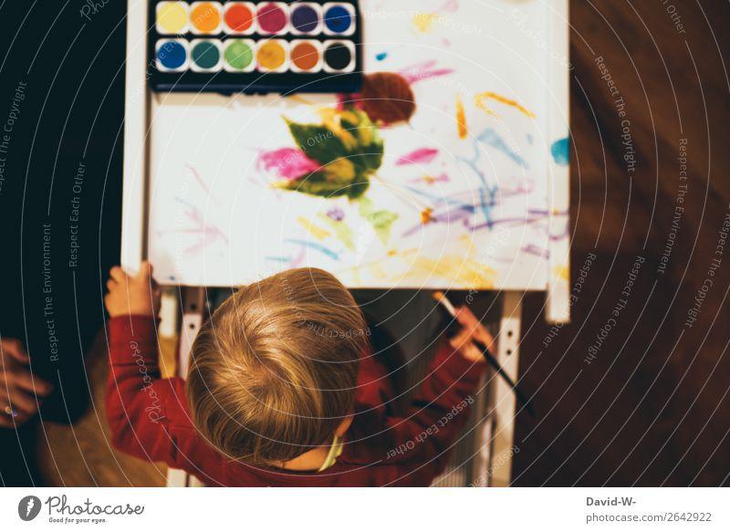 Wasserfarbe I Freizeit & Hobby Spielen Basteln Kindererziehung Kindergarten lernen Mensch feminin Kleinkind Mädchen Kindheit Leben Kopf Hand Finger 1 1-3 Jahre