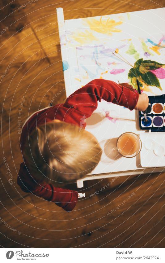 Wasserfarbe II Freude Zufriedenheit ruhig Basteln Handarbeit Kindererziehung Kindergarten lernen Mensch feminin Kleinkind Mädchen Kindheit Leben Kopf Arme