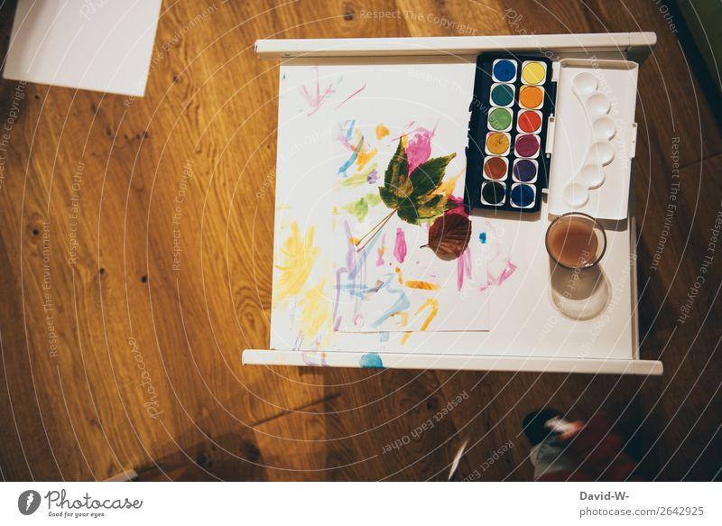 Komplex | Kunst der Kleinen Kind Mensch Blatt Freude Leben Herbst außergewöhnlich Häusliches Leben Kindheit Kreativität lernen malen Gemälde Kindergarten Fleck