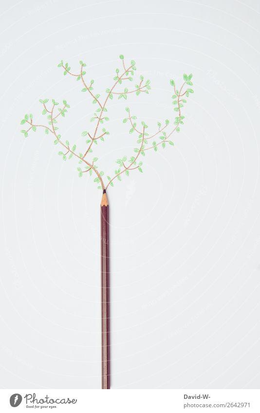 art Bildung Wissenschaften Kunst Kunstwerk Gemälde Umwelt Natur Urelemente Erde Klima Klimawandel Pflanze Baum Blatt Grünpflanze Wald Wachstum Farbstift
