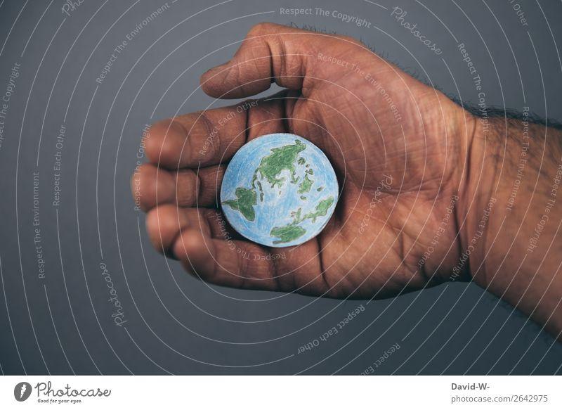 die Welt in meinen Händen Mensch Natur Jugendliche Mann Junger Mann Hand Erwachsene Leben Umwelt Liebe Kunst Erde maskulin träumen Zukunft Finger