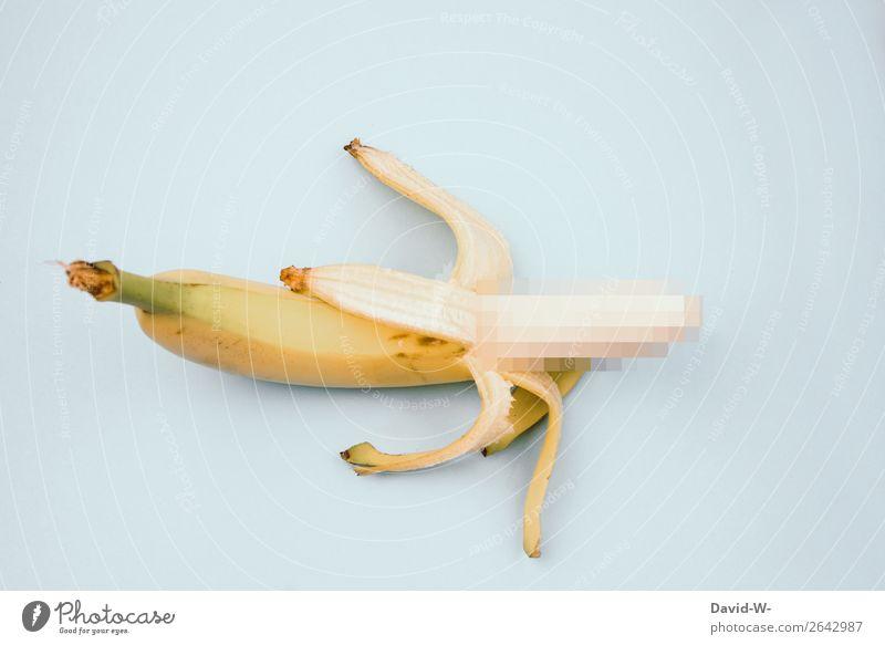 zensiert Gesundheit Gesunde Ernährung Leben Mensch maskulin Mann Erwachsene Kunst Kunstwerk hängen exotisch lecker lustig gelb Banane offen Penis Geschlecht