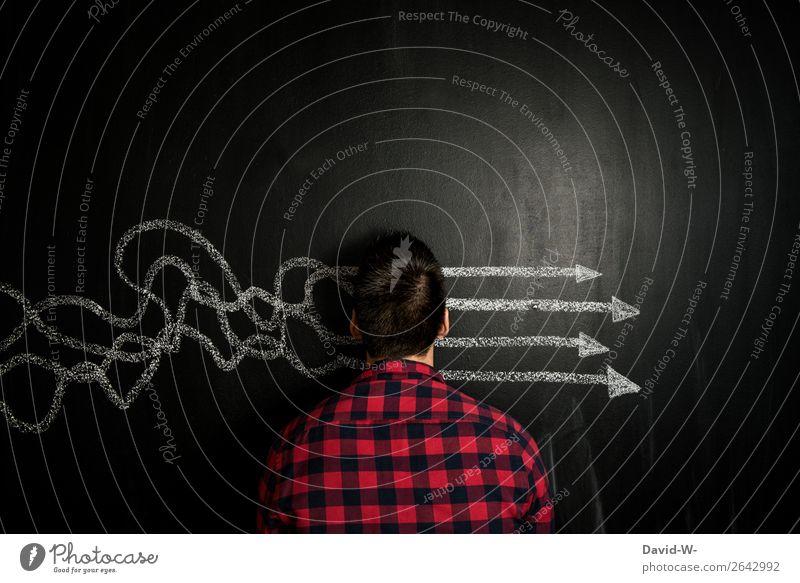 Mann Gedanken sortieren überlegen Tafel nachdenklich nachdenken Denken Konzentration Mensch Kreide überlegend lösung Lösungen lösungskonzept Lösungsweg