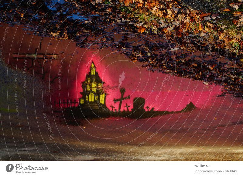über gräbern weht der wind ... Burg oder Schloss gruselig rosa Grab Reflexion & Spiegelung Pfütze Graffiti Herbstlaub Halloween Märchen Märchenschloss Abend