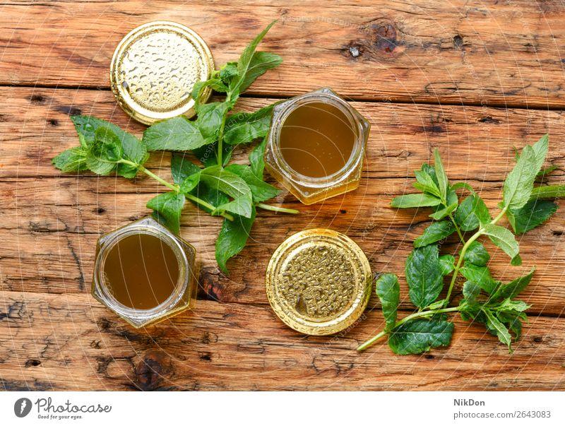 Marmelade aus frischer Minze Krause Minze süß Glas Pfefferminz Götterspeise selbstgemacht Kräuterbuch Gras Blatt grün Tee Bestandteil Laubwerk duftig riechen