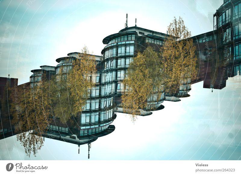 Can you feel it Bauwerk Gebäude Architektur modern Doppelbelichtung Hochhaus diagonal Fensterfront Experiment Farbfoto Außenaufnahme Menschenleer