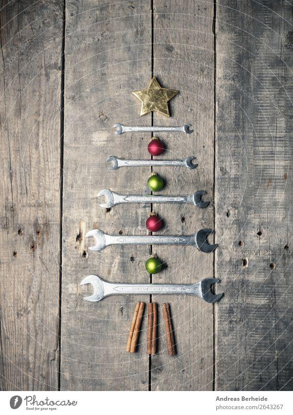 Weihnachtsbaum Maulschlüssel Stil Dekoration & Verzierung Weihnachten & Advent Erwachsenenbildung Handwerk Werkzeug Schlüssel alt golden present repair ribbon