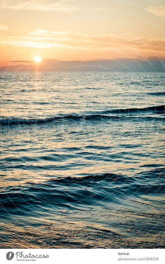 Das Licht geht Wasser Ferien & Urlaub & Reisen Sonne Meer Sommer Strand ruhig Erholung Gefühle Freiheit Küste Horizont Wellen Zufriedenheit nass Ausflug