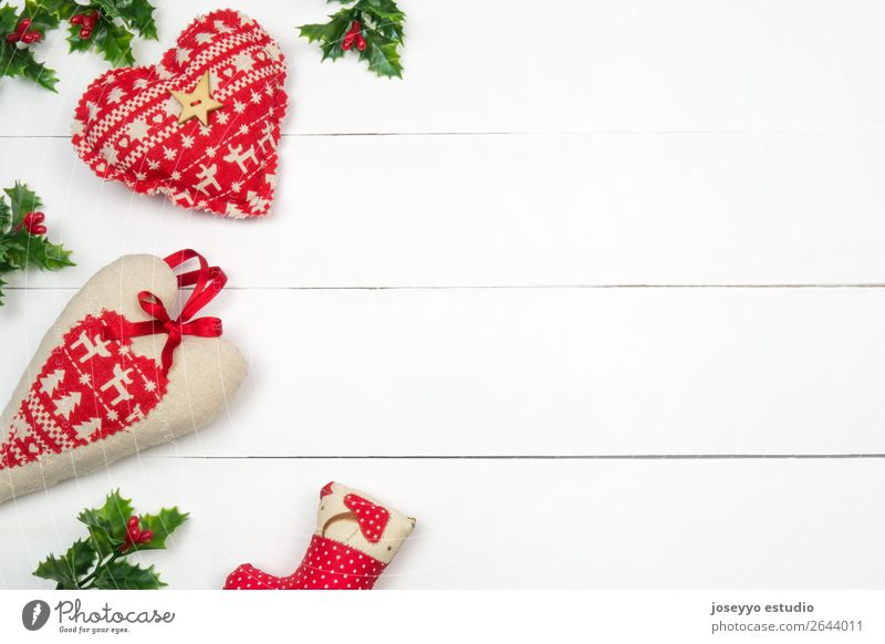 Kreatives Weihnachtslayout. Design Glück Winter Schnee Dekoration & Verzierung Feste & Feiern Weihnachten & Advent Herz einfach niedlich rot weiß Farbe