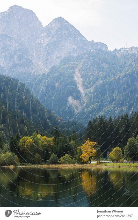 mountain lake Ferien & Urlaub & Reisen Natur Pflanze blau Wasser Landschaft Baum Erholung ruhig Berge u. Gebirge Herbst gelb Umwelt Tourismus Freiheit See