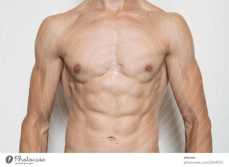 geprägter Oberkörper eines jungen Mannes Lifestyle schön Körperpflege Wellness Leben harmonisch Zufriedenheit Freizeit & Hobby Party Sport Fitness
