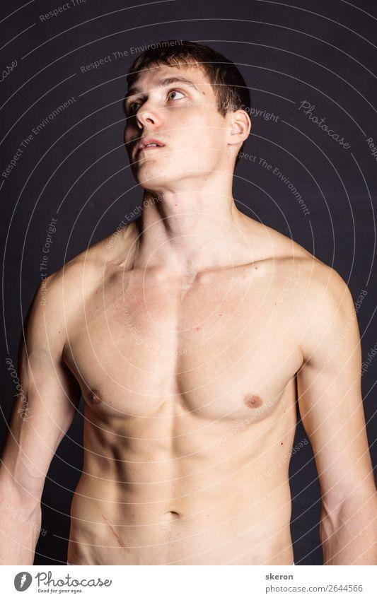muskulöser junger Mann mit nacktem Oberkörper Lifestyle schön Körperpflege Gesundheit Gesundheitswesen Krankenpflege Wellness Leben harmonisch Freizeit & Hobby
