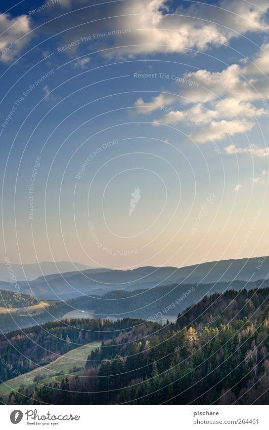 Täler Himmel Natur Wolken Wald Landschaft Horizont Hügel