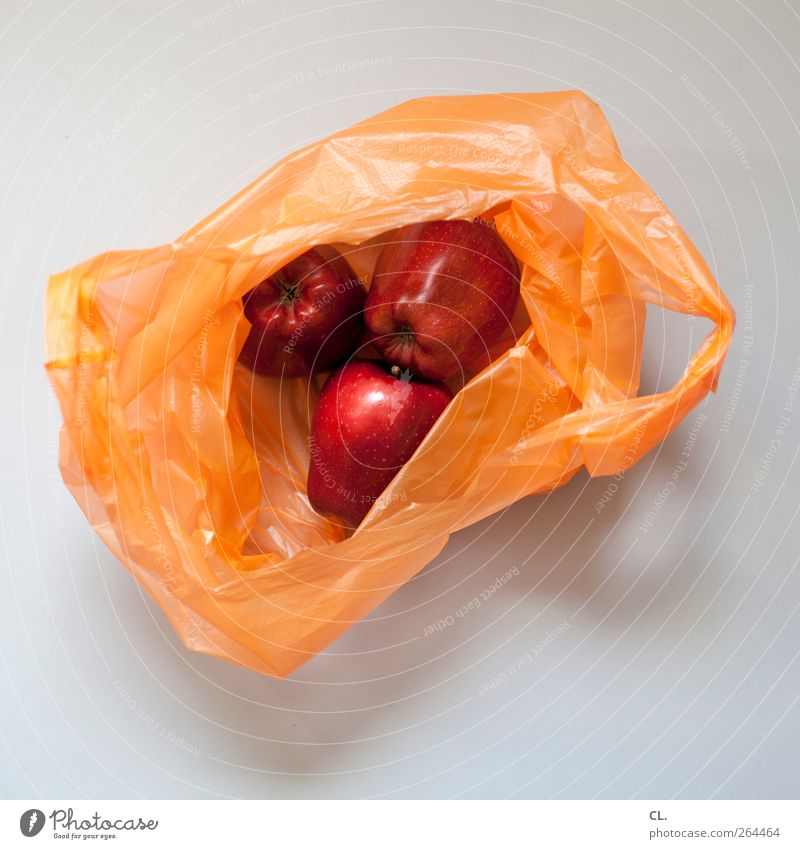 äpfel rot Gesundheit natürlich Lebensmittel Frucht frisch kaufen Apfel Appetit & Hunger lecker Bioprodukte Tüte Vegetarische Ernährung Ware Vor hellem Hintergrund