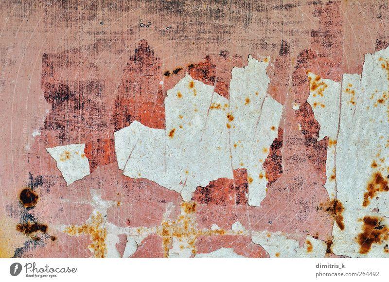 abgebrochene Lackoberfläche Industrie Metall Stahl Rost alt verblüht dreckig rosa Verkleidung bügeln Grunge Rust Hintergrund Konsistenz Oxidation Erosion