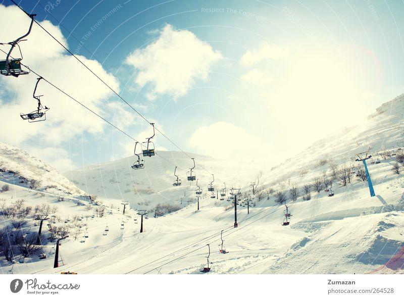 Natur blau weiß Sonne Landschaft Winter Berge u. Gebirge Schnee Sport Wetter Tourismus leer Schönes Wetter viele Skigebiet Wintersport