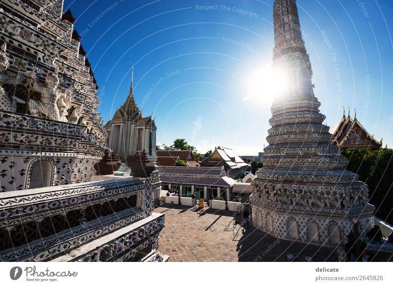 Wat Arun Himmel Sonne Stadt Kirche Palast Bauwerk Gebäude Architektur Sehenswürdigkeit Wahrzeichen Denkmal entdecken Erholung Thailand Bangkok Asien Südostasien