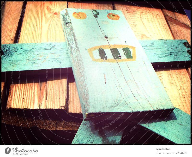Roboter Gesicht Holz Holzbrett Holzfigur
