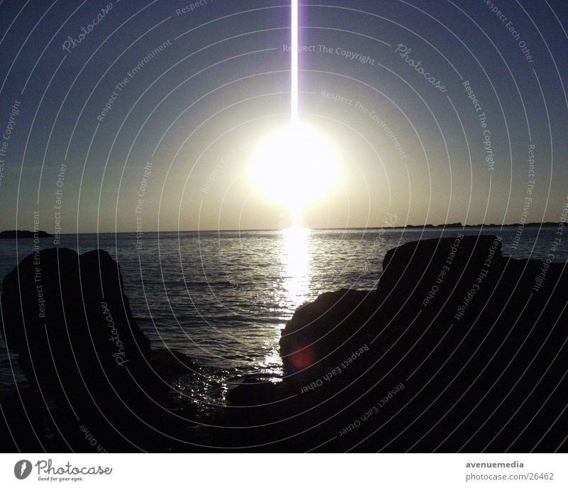 Sonnenuntergang am Meer Strand Türkei Ferien & Urlaub & Reisen Sommer Licht Felsen