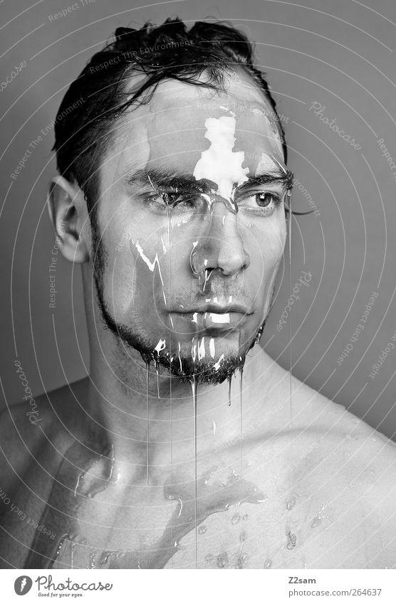 liquid Gesicht Mensch maskulin Junger Mann Jugendliche 1 18-30 Jahre Erwachsene Skulptur Traurigkeit Flüssigkeit kalt trashig Gelassenheit ruhig Sehnsucht