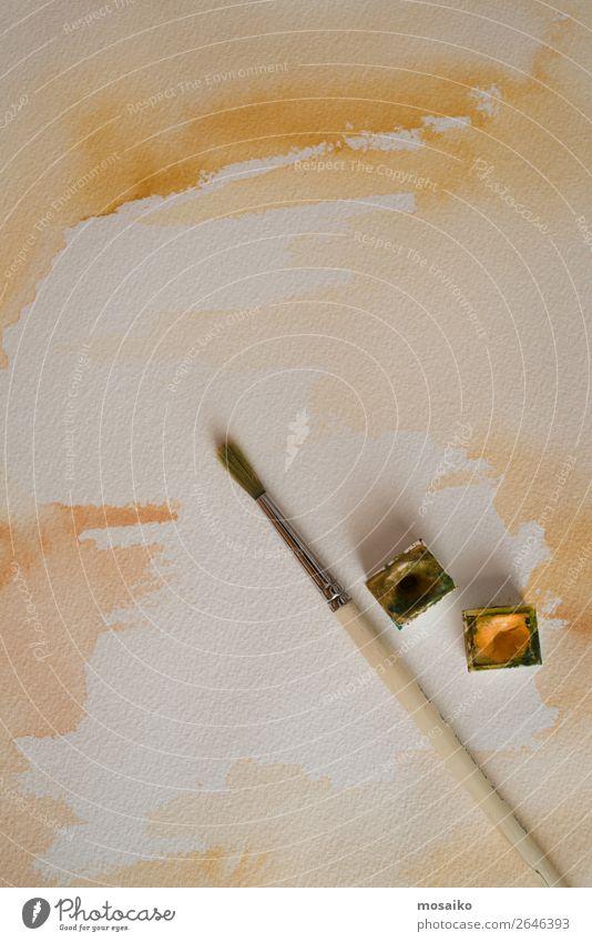 Pinsel und Aquarell Lifestyle Design Freizeit & Hobby Kindererziehung Bildung Kindergarten Schule Kunst Maler ästhetisch Idee Inspiration beige gelb sepiafarben