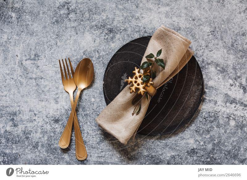 Weihnachts-Tischdecke, Goldbesteck und Nandinas Abendessen Teller Gabel Löffel Winter Dekoration & Verzierung Restaurant Ostern Erntedankfest