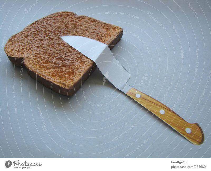 Angepasst Ernährung Lebensmittel grau braun liegen außergewöhnlich Frühstück Brot Abendessen Backwaren Messer Besteck Teigwaren Knick Toastbrot