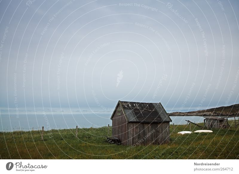 Melancholie ruhig Ferne Natur Landschaft Urelemente Wolken Klima schlechtes Wetter Wiese Küste Meer Fischerdorf Hütte dunkel Einsamkeit Ende Endzeitstimmung