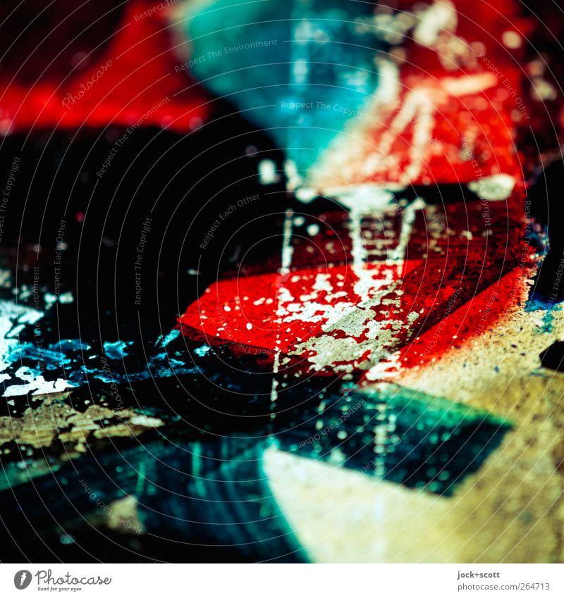 farbschnittig schön dunkel Fenster Graffiti Kunst hell leuchten Dekoration & Verzierung Glas ästhetisch Fröhlichkeit Kreativität Streifen Netzwerk nah