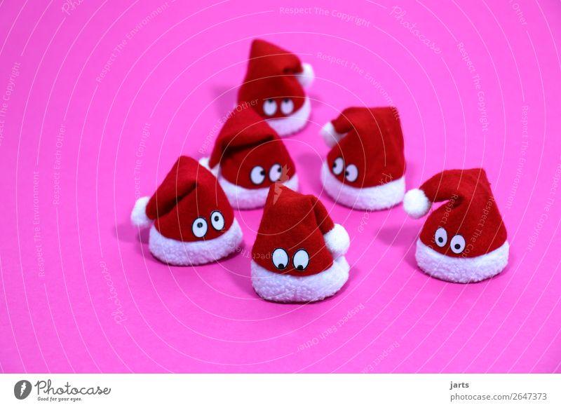 weihnachtsteam pink IV Weihnachten & Advent Mütze Blick außergewöhnlich niedlich rosa rot weiß Neugier Überraschung Nikolausmütze Weihnachtsdekoration Augen