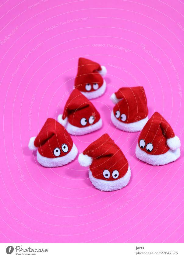 weihnachtsteam pink V Weihnachten & Advent Mütze Blick lustig niedlich rosa rot weiß Neugier Überraschung Nikolausmütze Auge Farbfoto Innenaufnahme