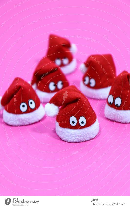 weihnachtsteam pink III Weihnachten & Advent Mütze Blick warten außergewöhnlich niedlich rosa rot weiß Neugier Nikolausmütze Weihnachtsmann Farbfoto mehrfarbig